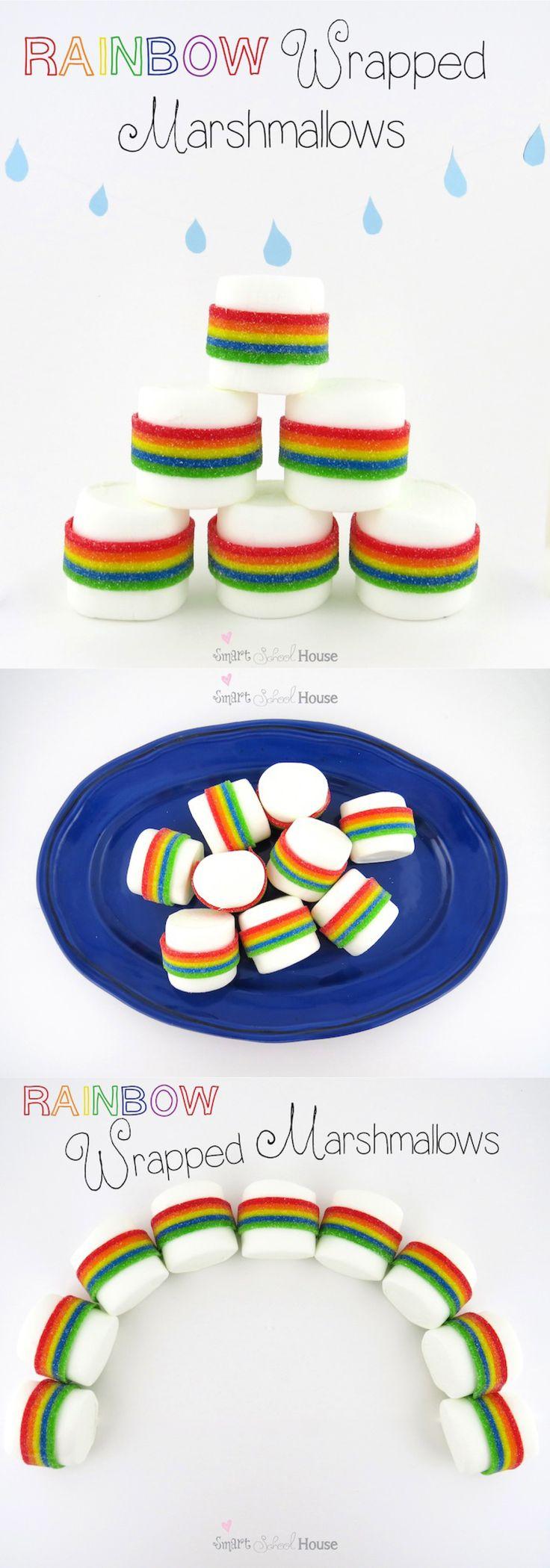 Rainbow marshmallows - Love these! So simple but really cute!