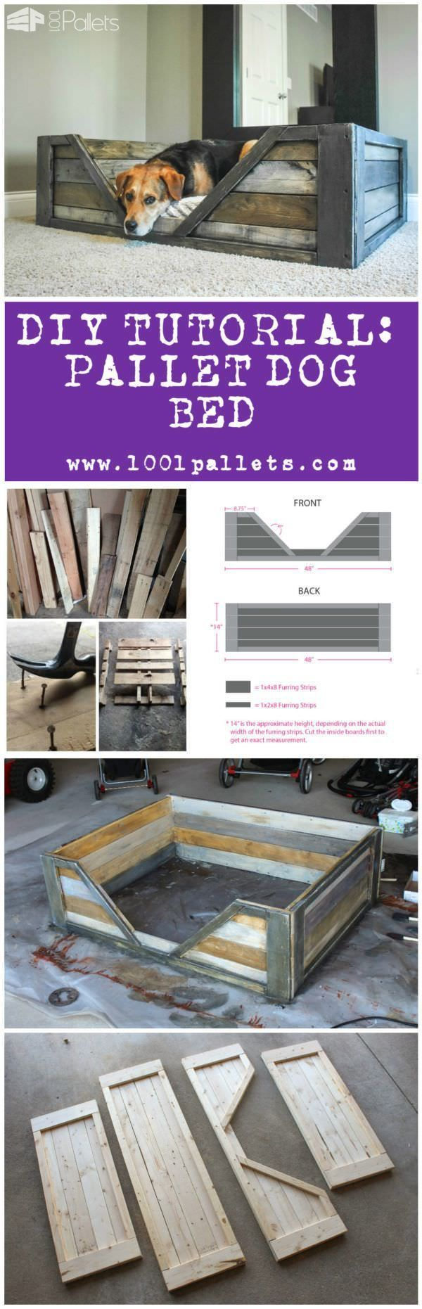 """Diy Tutorial: Pallet Dog Bed This tutorial by Dana Laureano from the blog """"Ruggy DIY"""" in collaboration with 1001Pallets will describe how to make this dog basketout of 2 to 3repurposed wooden pallets. 2 or 3 Pallets. 6 Hours. We evaluated this project as a medium difficulty project. Available as aPDF File. Todownload this tutorial, simply subscribe to our weekly..."""