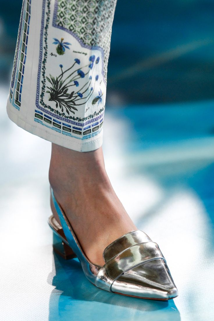 Tory Burch Spring 2014 RTW - Details - Fashion Week - the silver shoe.  Vogue Monogram Goods sold out the pant in a week!