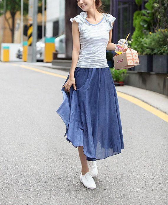 Fashion Skirt Big Hem Long Skirt Daily leisure joker Linen Maxi Comfortable and soft Cotton Linen Women Clothes