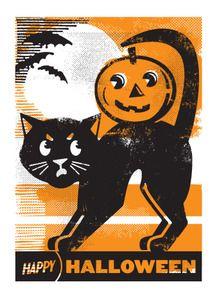 vintage black cat & pumpkin