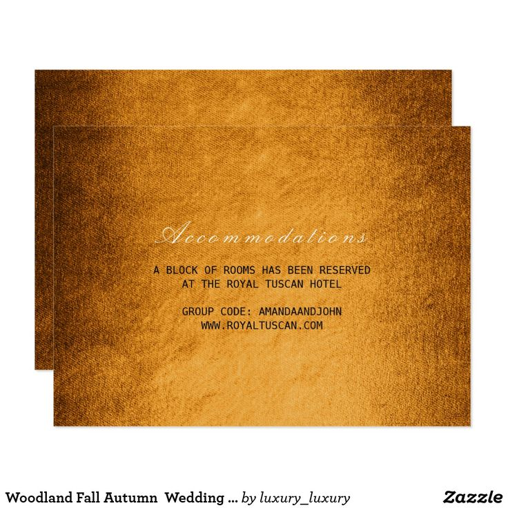 zazzle wedding invitations promo code%0A Woodland Fall Autumn Wedding Hotel Accomodation Card