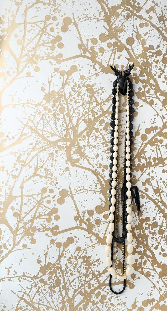 Ferm Living Wilderness Wallpaper Gold/White