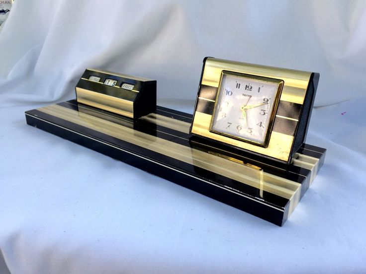 Mid century modern desk set  perpetual calendar and clock black and gold striped by StudioVintage on Etsy
