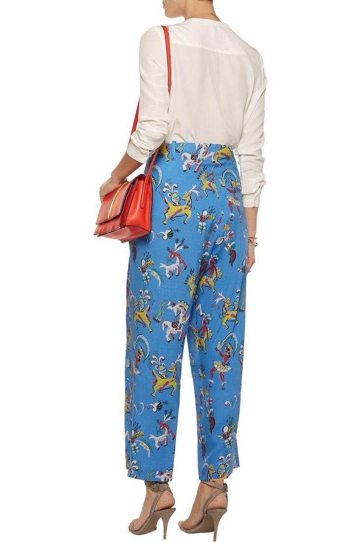 EtroCropped printed silk wide-leg pantsback