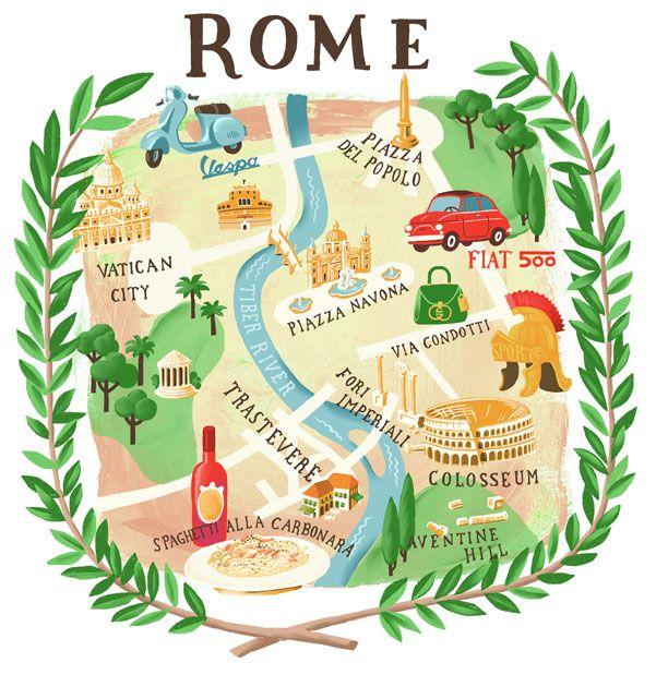 italian trip, rome map by marco marella  https://www.behance.net/marcomarella
