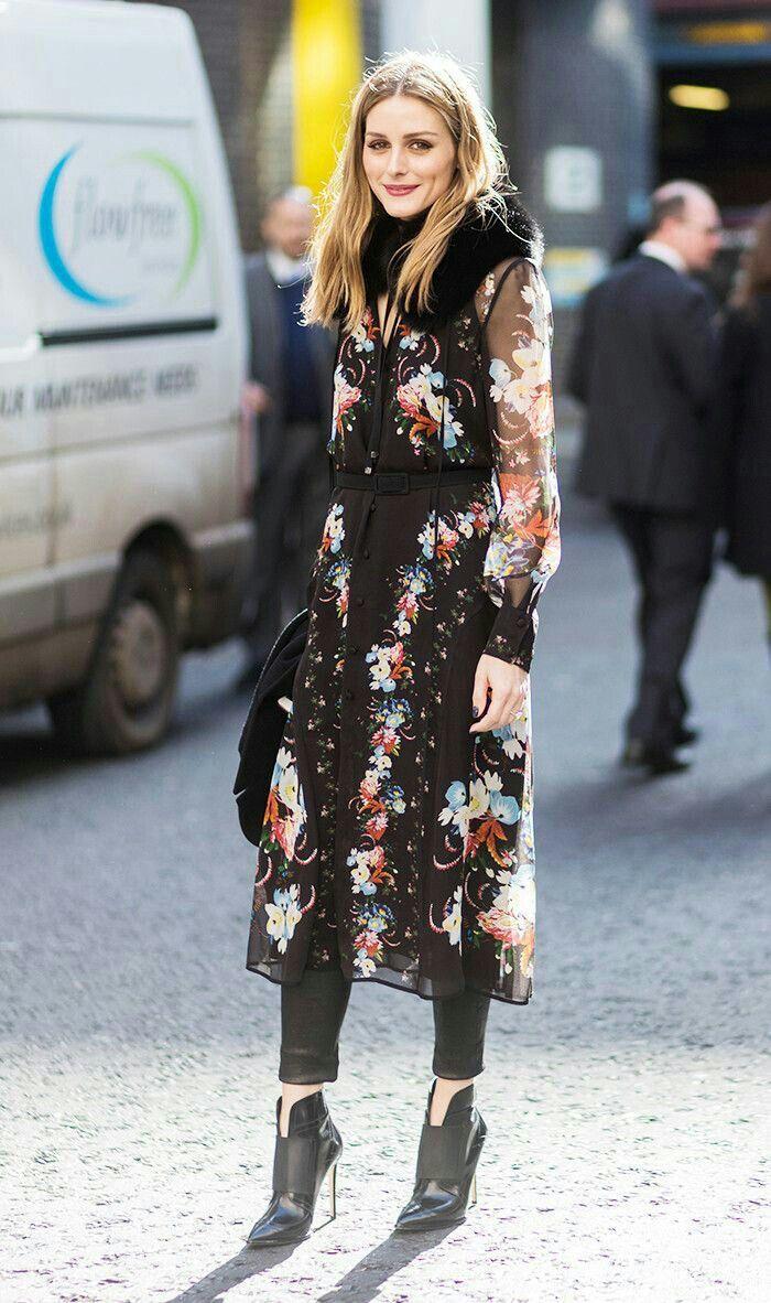 Olivia Palermo - dress over leather leggings