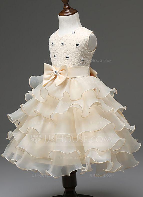 De baile Decote redondo Longuete Cintos Curvado Strass Combinação de algodão Sem magas Vestidos de Menina das Flores…