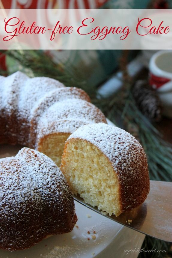 gluten-free eggnog cake...so easy and yummy. I made it with lactose free eggnog, cooking sherry and Pamelas Classic Cake Mix. Ready in 5 mins!!