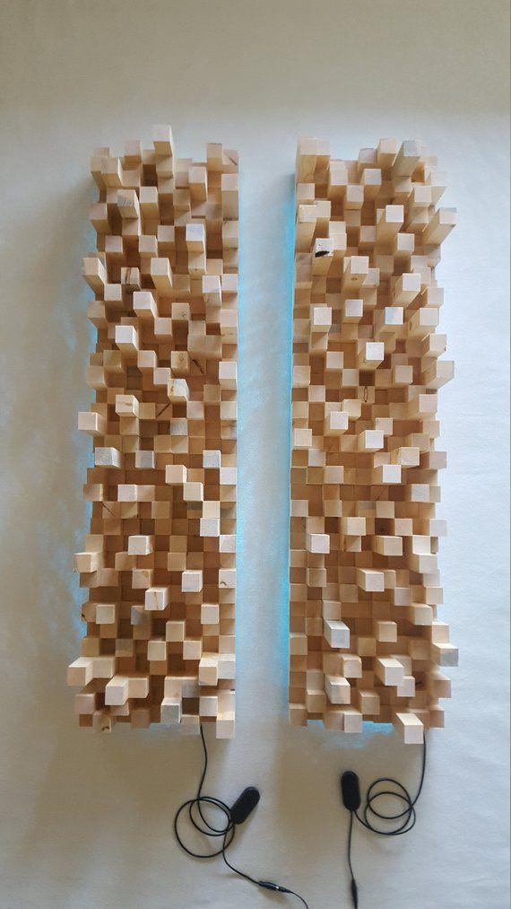 Wood Sound Diffuser With Led Backlight Wood Wall Art Diy Wood Art Design Diy Woodworking