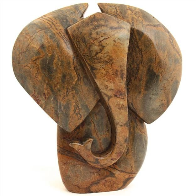 Abstract Elephant, Shona Sculpture by Fungai Dodzo, Zimbabwe.
