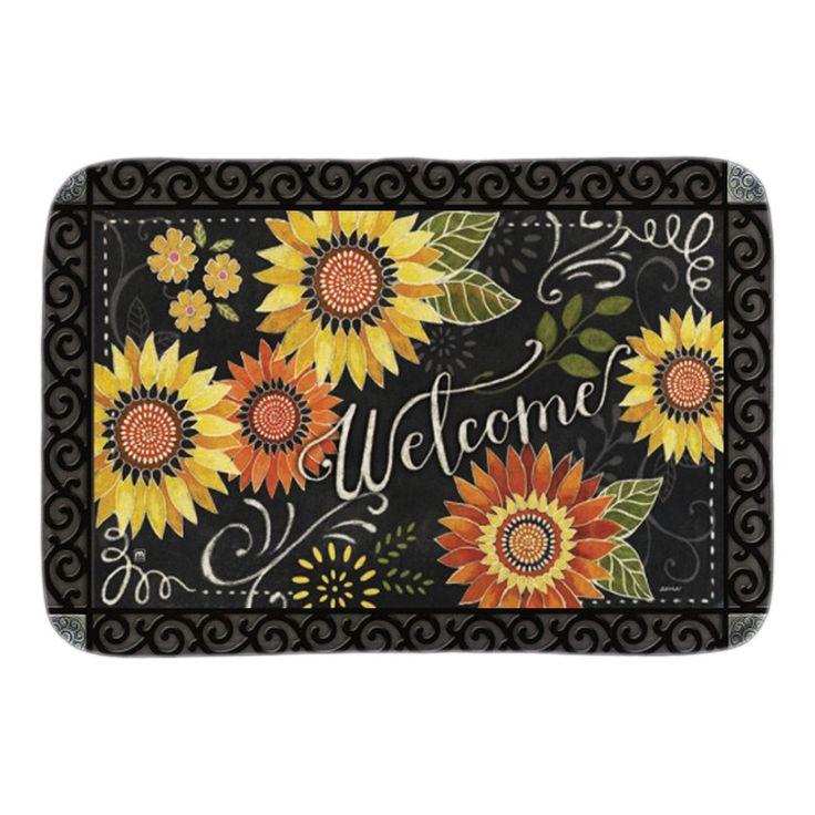 Sunflower Chalkboard Doormat Indoor Outdoor Floor Mats For Living Room Bedroom Soft Lightness Short Plush Fabric Door Mats