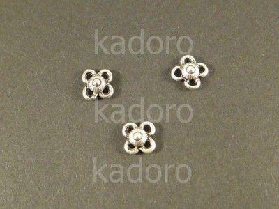 Łącznik posrebrzany antyczny kwiatek 8x8mm-2szt