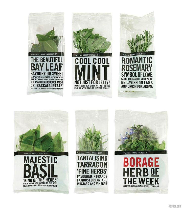 Waitrose Fresh Herbs, minimally packaged, tabloid style text; design by Lewis Moberly