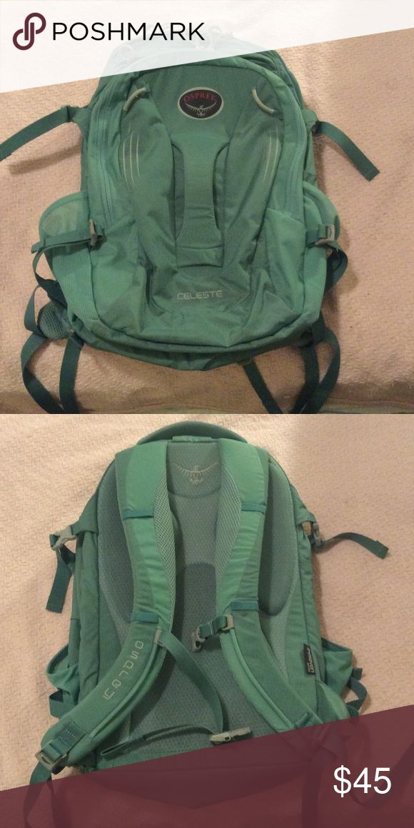 Osprey backpack Light blue Osprey backpack. Good preloved condition. No rips. Zippers and snaps in good working condition. A little dirty from hiking trips. osprey Bags Backpacks