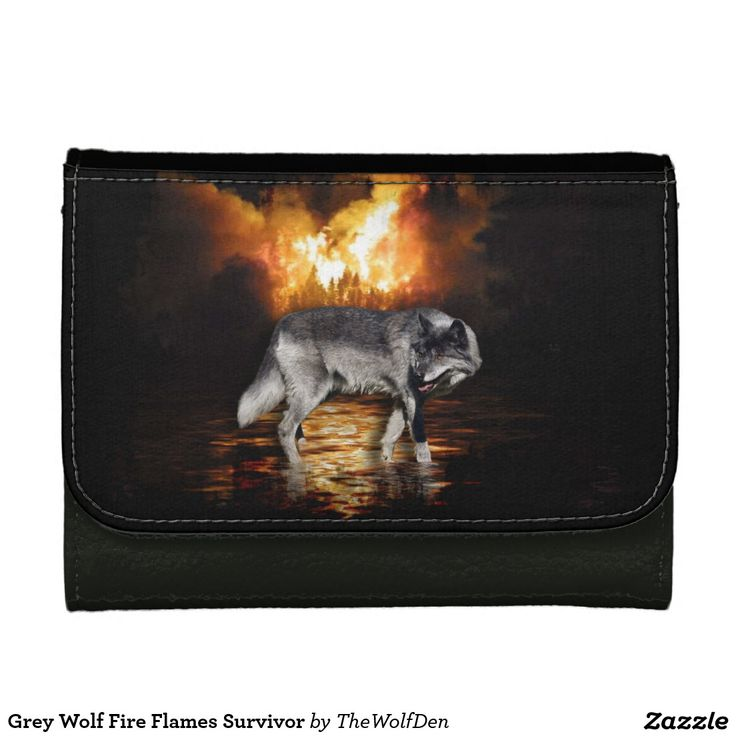 Grey Wolf Fire Flames Survivor Wallets