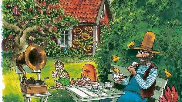 """Petterson und Findus essen Pfannkuchentorte in """"Eine Geburtstagstorte für die Katze"""" Illustration: Sven Nordqvist"""