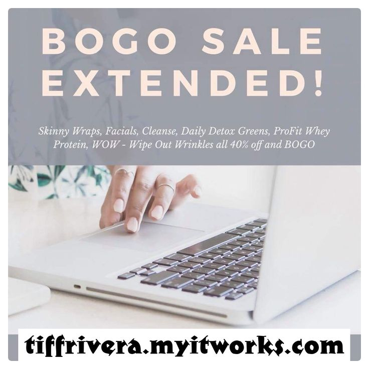 🎉 WHEN YOU WAKE UP TO BOGO EXTENDED until tomorrow the 29th! These deals you guys seriously don't want to miss! 🌿  8 Skinny Wraps 👯 - $59 2 boxes of Cleanse🌱- $36 2 boxes of WOW 👀 - $46 2 canisters of Original Berry Greens- $25 2 bags of Profit 💪🏼- $69 8 Facials 🧖🏼‍♀️- $59  Inbox me before it's GONE FOR GOOD! 💕  Www.Tiffrivera.myitworks.com