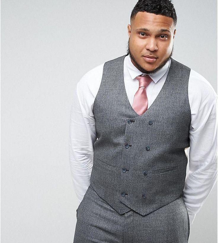 ASOS PLUS WEDDING Skinny Suit Vest in Woven Texture in Slate Gray - Gr
