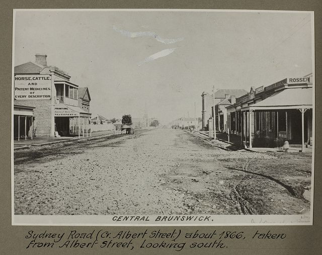 Central Brunswick, Victoria: Sydney Road (CR. Albert Street) about 1866, taken from Albert Street, looking south.