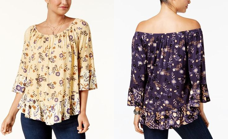Style & Co Petite Printed Off-The-Shoulder Top, Created for Macy's - Sale & Clearance - Women - Macy's
