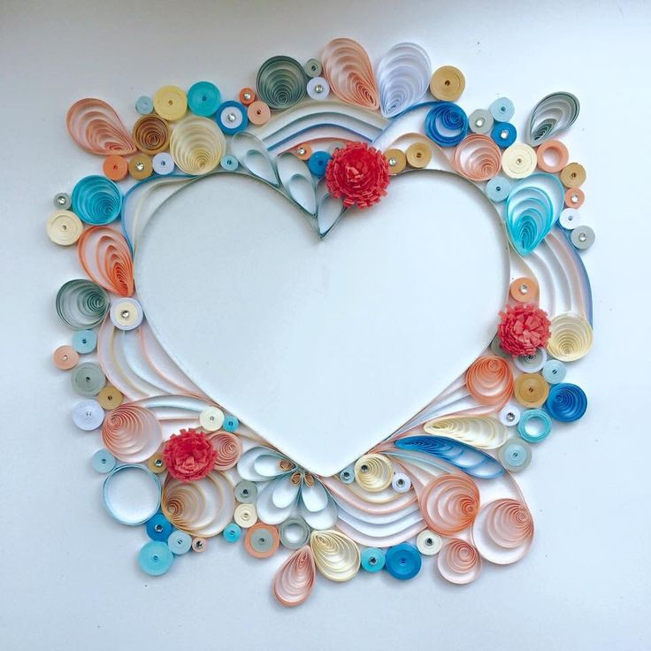 Love heart paper quilling art perfect for gifts and home for Quilling home decor