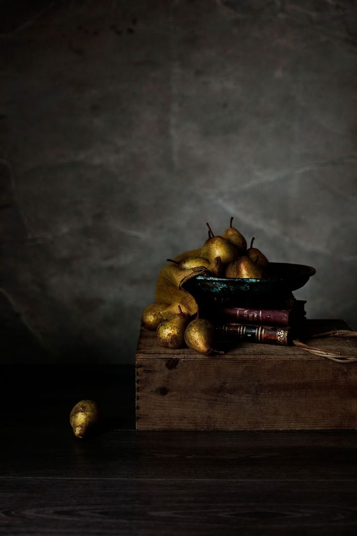 Rocha pears and old books.