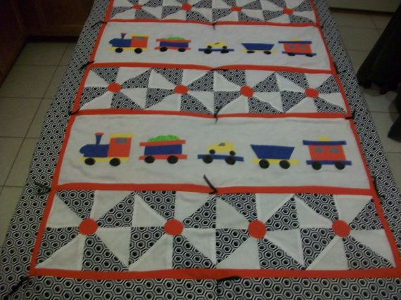 Baby Boy Train Quilt By Peapodlilfrogs On Etsy 75 00