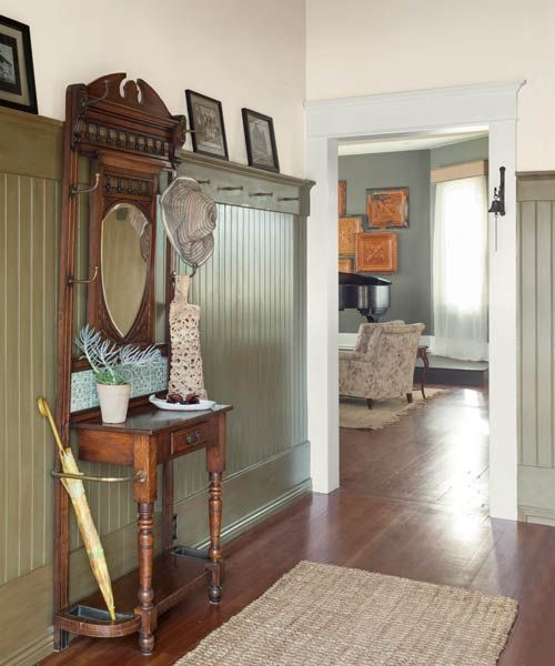 reader remodel contest winner 2013 whole house after hallway with hall tree, beadboard trim