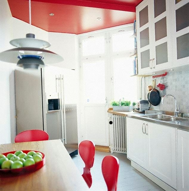 White Kitchen Red Accent  I love the red ceiling!