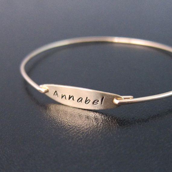 Custom Name Bracelet Gold Name Bracelet by FrostedWillow on Etsy