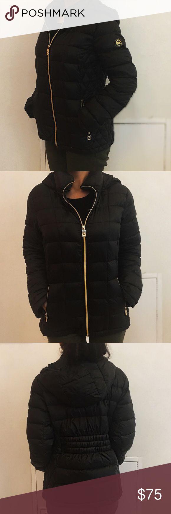 MICHAEL Michael Kors Black Puffer Jacket, M Classic, functional Michael Kors winter jacket in basic black with detachable hood.  Two front zip pockets, MK logo zippers and sleeve logo.  Keep warm this winter with this classic design. MICHAEL Michael Kors Jackets & Coats Puffers