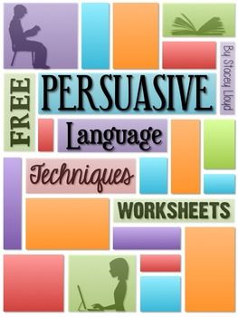 FREE Persuasive Language Worksheets...English Language Arts, Writing 7th, 8th, 9th, 10th Worksheets... students practice identifying and explaining them in use. These FREE worksheets will help facilitate that process.