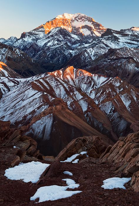 Aconcagua, Argentina. This photo, while beautiful, does not do it's size justice.