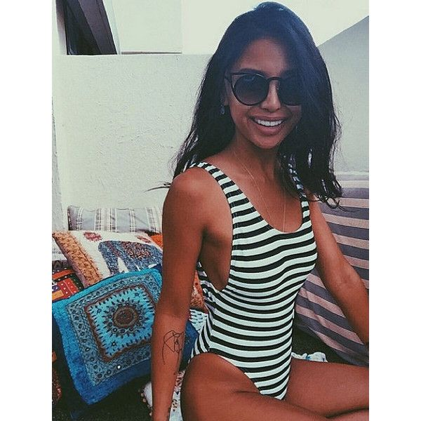 80'S Style High Cut Swimwear New Nautical Black & White Stripe 90s... ($73) ❤ liked on Polyvore featuring swimwear, one-piece swimsuits, grey, women's clothing, summer bathing suits, nautical swimsuit, black 1 piece swimsuit, slimming bathing suits and 1 piece bathing suits