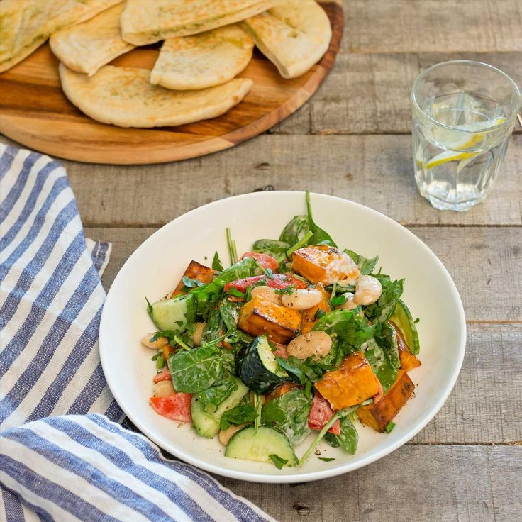 Creamy Aioli Roast Veggie Salad with Butterbeans, Dukkah and Garlic Pitas