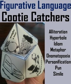 Figurative Language: These Figurative Language Cootie Catchers: are a great way for students to have fun while learning the different types of figurative language. How to Play and Assembly Instructions are included.Figurative language contents: (with pictures illustrating the concept) Alliteration: Peter Piper picked a peck of pickled peppersHyperbole: This bag weighs a tonIdiom: Raining cats and dogsMetaphor: Time fliesOnomatopoeia: AARGH!