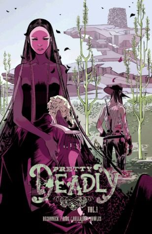 """""""Pretty deadly, Volume One: The Shrike"""", by Kelly Sue Deconnick & Emma Rios & Jordie Bellaire & Sigrid Ellis & Clayton Cowles - Death's daughter rides the wind on a horse made of smoke and her face bears the skull marks of her father. Her origin story is a tale of retribution as beautifully lush as it is unflinchingly savage."""