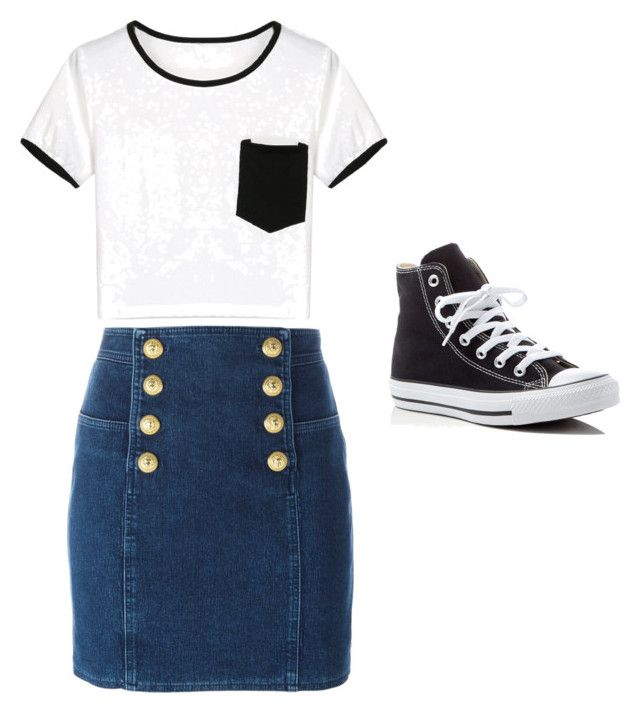 """""""Don't be basic"""" by ophelierose on Polyvore featuring mode, WithChic, Balmain et Converse"""