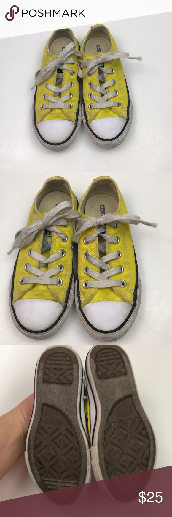 "Kids Converse Yellow Chuck Taylors Lace Up Shoes Condition - good shape   Color- yellow, white   Measurements - bottom of the sole Toe to heel - 8"" Widest part - 3""  No box.    S11218/1 Converse Shoes"