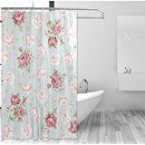 Modern Europe Home Decor Shower Curtain Set By ALAZA,Shabby Chic Romantic Floral Flower,Polyester Bathroom Shower Curtain Set with Hooks,60W X 72L Inches,Pink Blue #shabbychicbathroomsshower #shabbychicbathroomscurtains