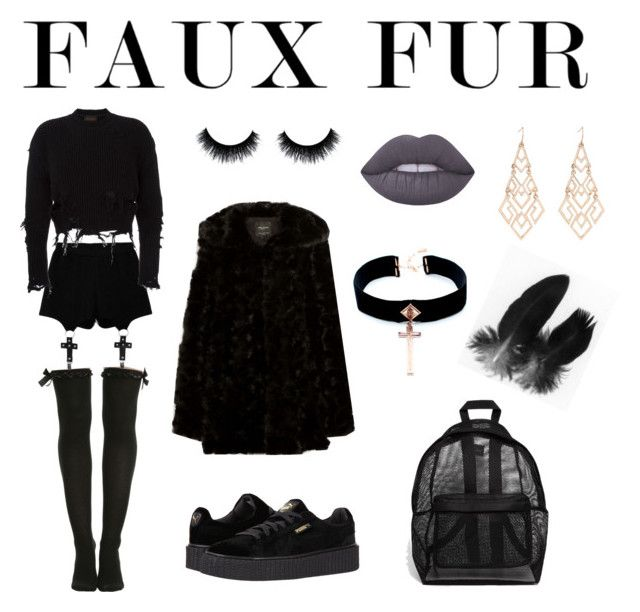"""Faux Fur"" by sini-harju on Polyvore featuring ASOS, Puma, Chicnova Fashion, adidas Originals, Lime Crime, VSA, contestentry and fauxfurcoats"