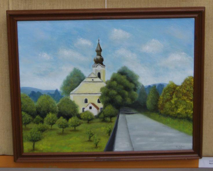 kostol v Sobotišti olejomalba - Church in Sobotiste oil painting