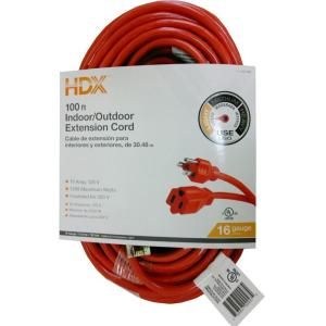 HDX, 100 ft. 16/3 Extension Cord, HD#277-525 at The Home Depot $16.97