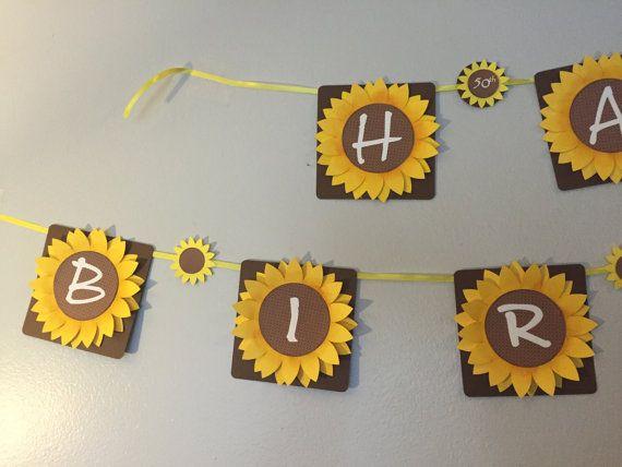 Sunflower Party Banner. Birthday Decorations. by KipseysCardShop