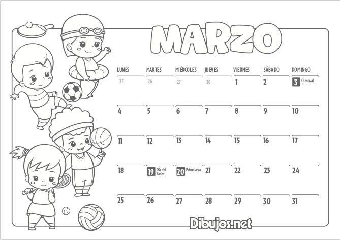 Calendario Infantil 2019 Para Imprimir Y Colorear Dibujos Net Calendario Infantil Calendario Salones De Preescolar