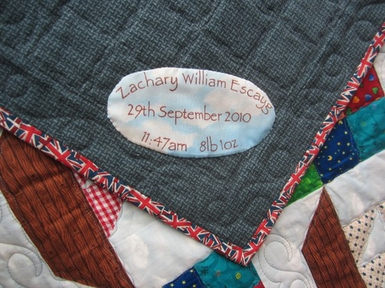 Label, Corner Detail  and Backing of Boats Quilt - Quilting done by http://vicaragequilts.blogspot.co.uk