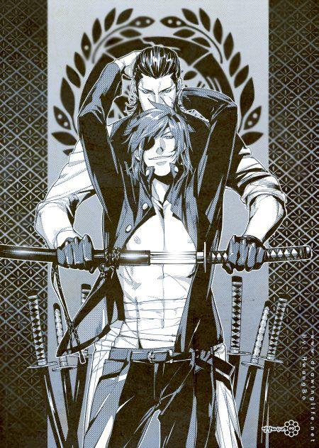 Hajime and Hyousuke, passing down the skills. (Sengoku Basara Source : yes-loving-it-komasa.tumblr.com )