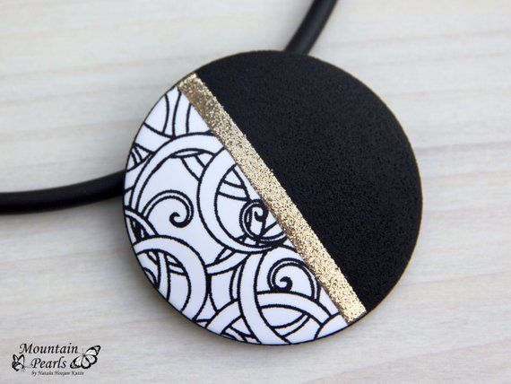 Great Beautiful black white collar! This geometric necklace is made of polka …
