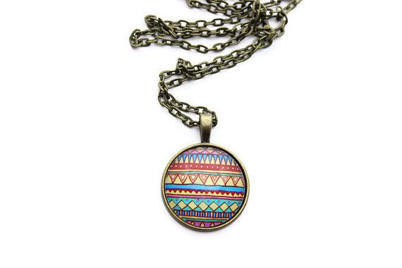 25mm Resin Photo Necklace - Azetc Inspired Necklace - Aztec Jewelry - Pendant Necklace for Women - Antique Bronze Chain Necklace